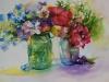 Aquarel bloem stilleven met Mason Ball glas te koop