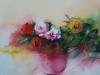 Aquarel rozen-in-rode-vaas, mat 35 x 35 cm