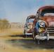 Aquarel oldtimers, klassieke auto's