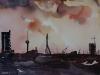 Aquarel Skyline Rotterdam