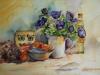 Aquarel stilleven met paarse anemonen