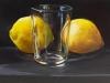Olieverf opdracht Glas en citroenen Geel stilleven