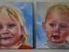 Olieverf tweeluik in opdracht 14 x 14 cm per paneeltje van twee kinder portretjes.