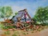 Opdracht aquarel Knuffels en huisje