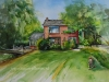 Huis en tuin opdracht aquarel