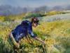 aquarel opdracht vrouw in bloemenveld