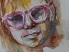 aquarel meisje met bril - Joke Klootwijk maat 15 x 20 cm