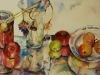 aquarel-apples-glass-and-paint geschilderd op geel aquarel papier