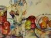 aquarel-apples-glass-and-paint geschilderd op geel aquarel papier