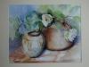 aquarel bruine vaas met witte bloem, maat 32 x 40 cm te koop