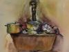 aquarel-gootsteen-met-vaatwerk maat 30x35 cm te koop