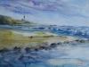 Aquarel Strandgezicht op vuurtoren