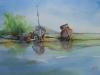 aquarel boten op het droge