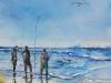 Aquarel Wachten op de vangst