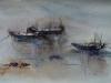 Aquarel roeiboten in aquarel