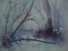 Aquarel moeras-in-winter