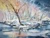 Aquarel sneeuwlandschap in aquarel