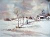 Aquarel sneeuwlandschap met huis