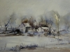 Aquarel winter landschap in aquarel (VERKOCHT)