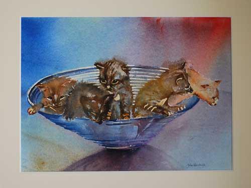 poezen-in-glazen-schaal GRATiIS te winnen aquarel aktie Joke Klootwijk