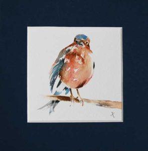 vogeltje  GRATIS te winnen aquarel - aktie Joke Klootwijk aquarellen
