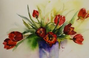Rode tulpen in aquarel te koop