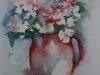 Aquarel Hortensia in aardewerk-Krina Wattel-2010