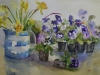 aquarel Cornish ware and violets-Joke Klootwijk