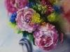 Aquarel vaas-met-pioenrozen, maat 35 x 26 cm
