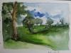 aquarel schetsboek pagina landschap met bomen