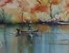 Aquarel Vissersboot in gouden licht te koop
