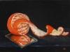 Olieverf opdracht Gepelde mandarijn, Oranje Stilleven
