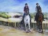 opdracht-schilderij-2-paarden-met-ruiters-strand-de-Dishoek