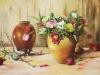 Olieverf stilleven-met-kerstroos-en-tulpen