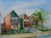Aquarel Rij met huizen in opdracht geschilderd