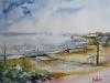 Aquarel vlissingen-strand