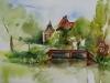 Aquarel plein air, zicht op Buitenplaats Griffioen