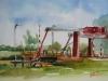Arne Brug Middelburg, plein air aquarel