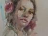 Aquarel-portret-vrouw-met-bloemen-in-haar te koop