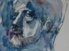 aquarel en houtskool en wit krijt studie henk