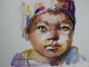 aquarel schets meisje met muts, maat 15 x 20 cm