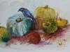 aquarel Pompoenen en blauwe vogel