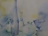 aquarel Blauwe flessen