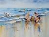 Aquarel spelen-op-het-strand (verkocht)