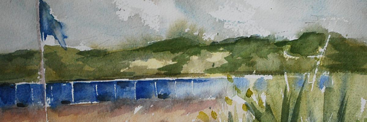 Plein air aquarel schets Vlissingen Nollestrand
