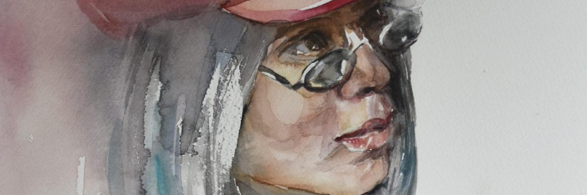 Aquarel studie portret met rode baret